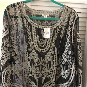 CATO Sheer Lace Evening Tunic Topper NWT